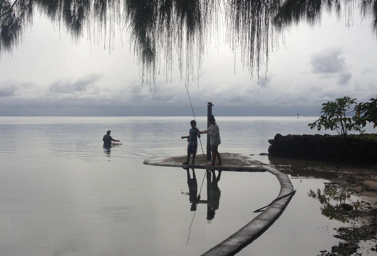Vater und Mutter fischen mit einem Nylonnetz
