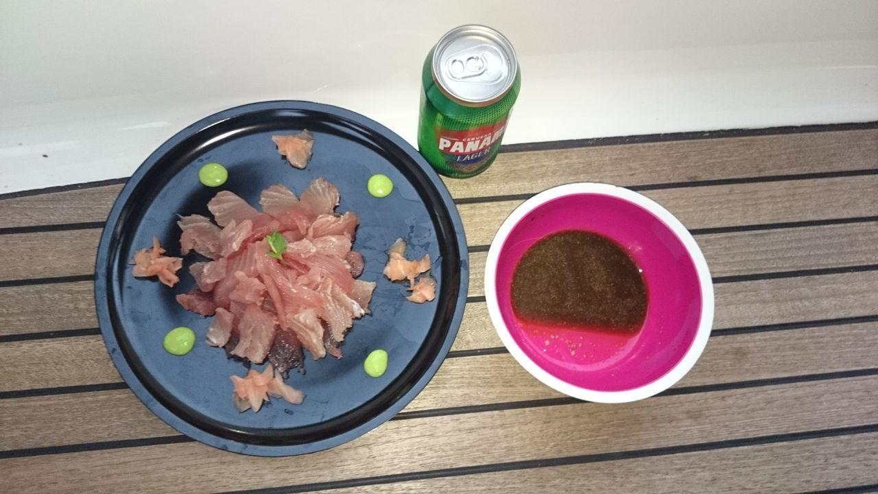 Lecker Yellowfin Sashimi auf der hapa na sasa