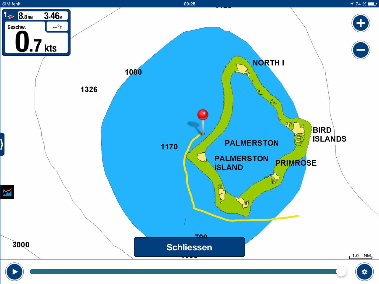 Die Seekarte von Palmerston ist für die Crew der hapa na sasa komplett unbrauchbar.
