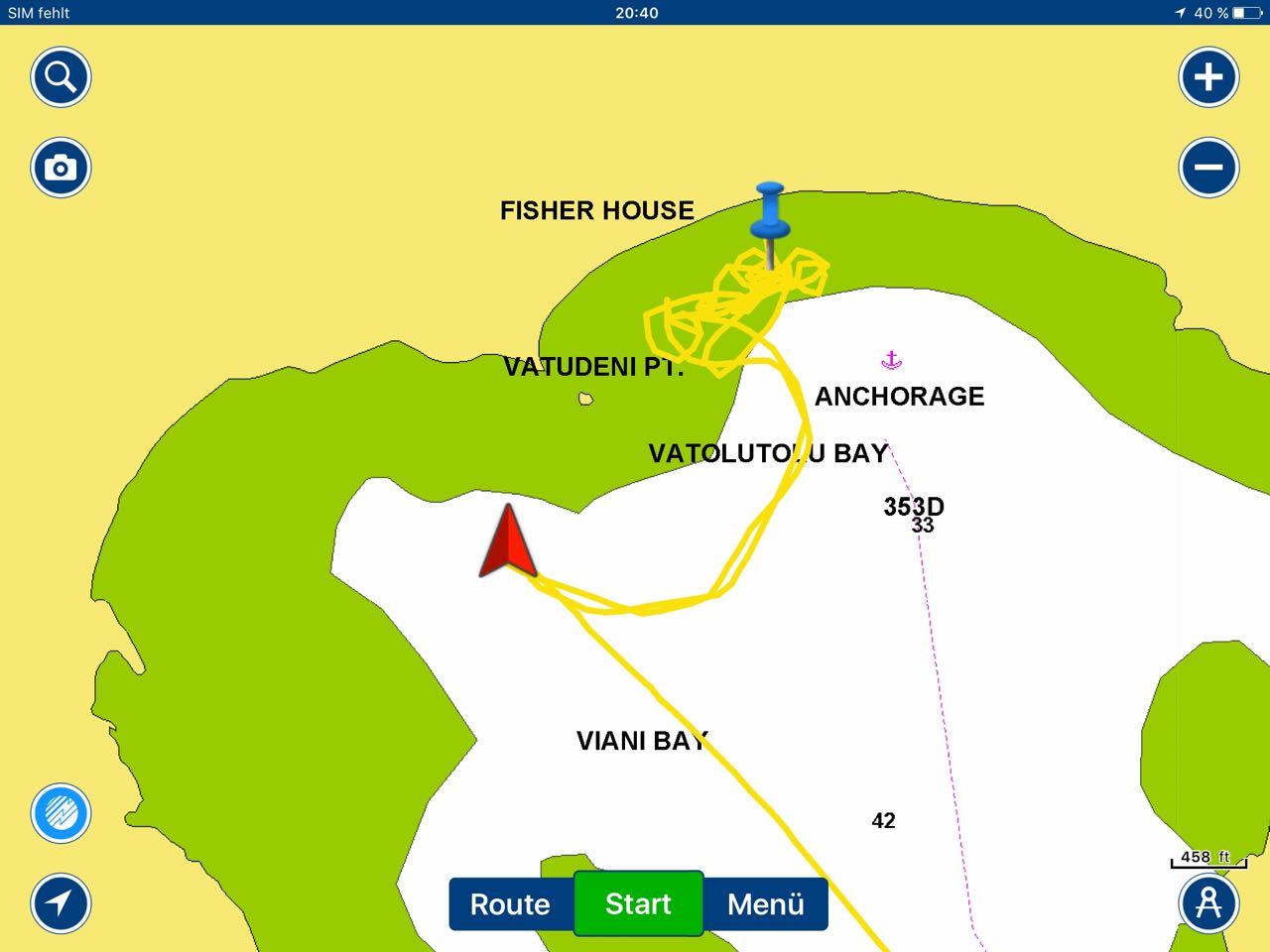 In der Viani Bay will der Anker einfach nicht halten.
