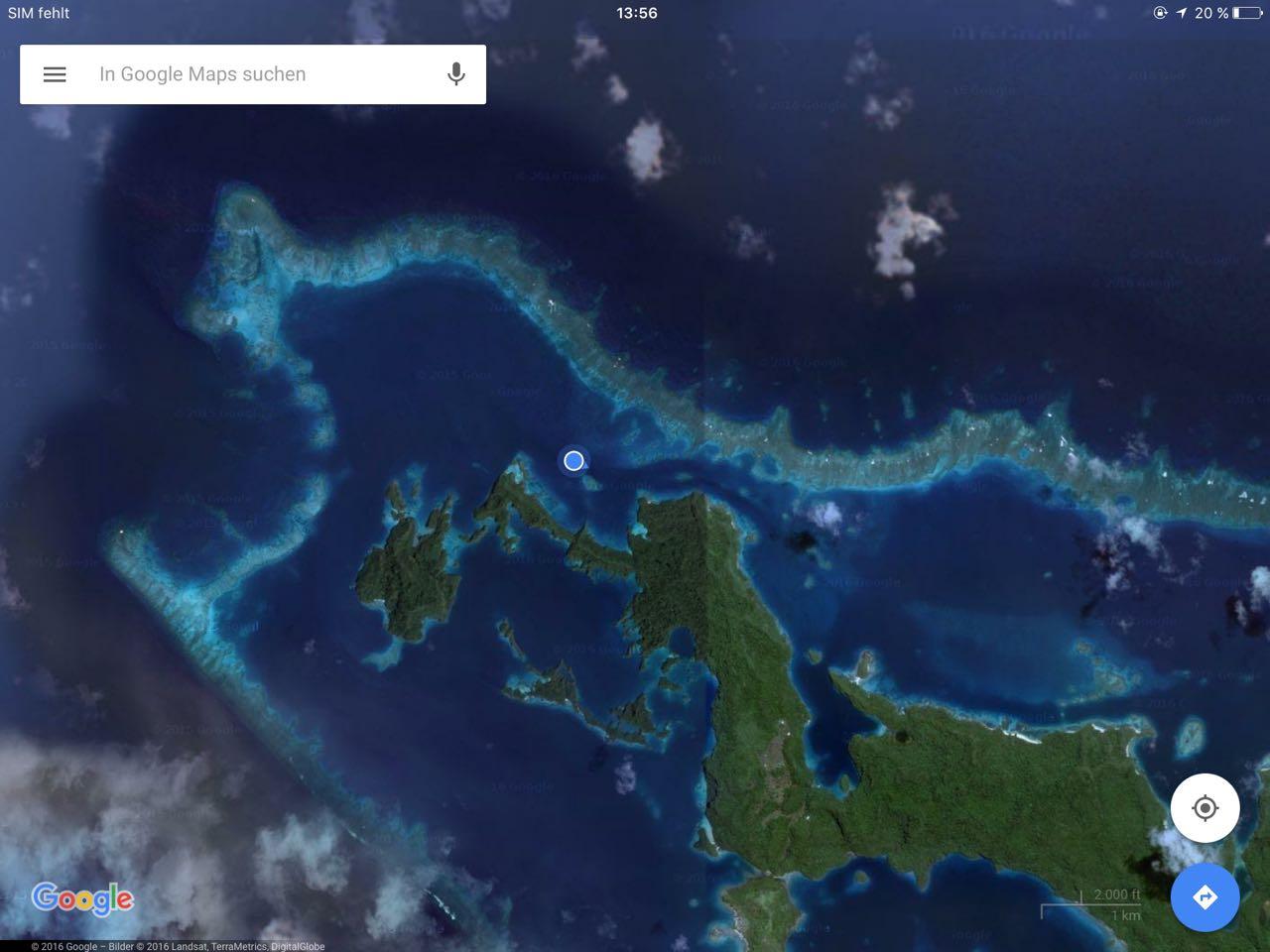 Google Maps Satellitenbild von der Ansteuerung von Vanuabalavu