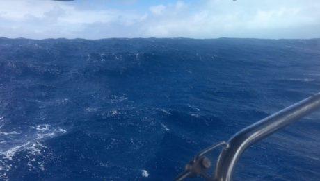 Die Wellenhöhe ist beeindruckend, nur das man das hier auf dem Foto schlecht sieht