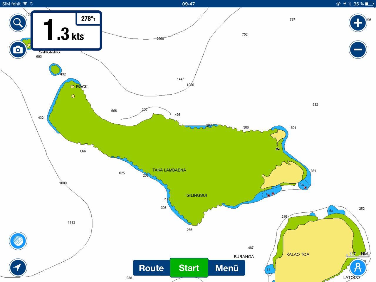 Die Lagune von Karompa Lompo ist laut den Karten von Navionics und iSailor nicht befahrbar.s