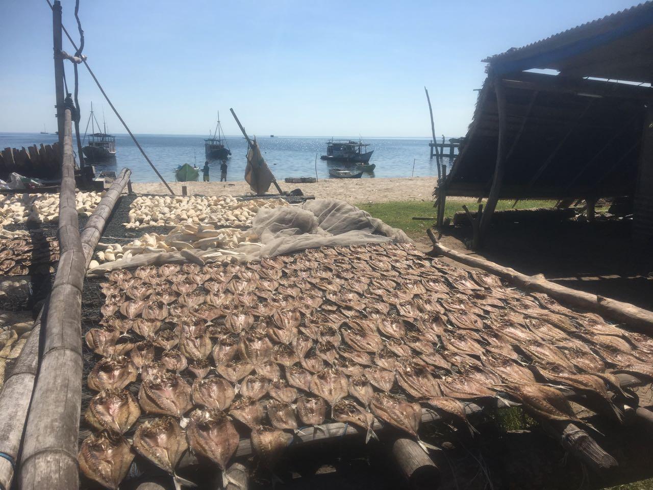 Hier wird Fisch getrocknet, um ihn später an die grösseren Inseln zu verkaufen