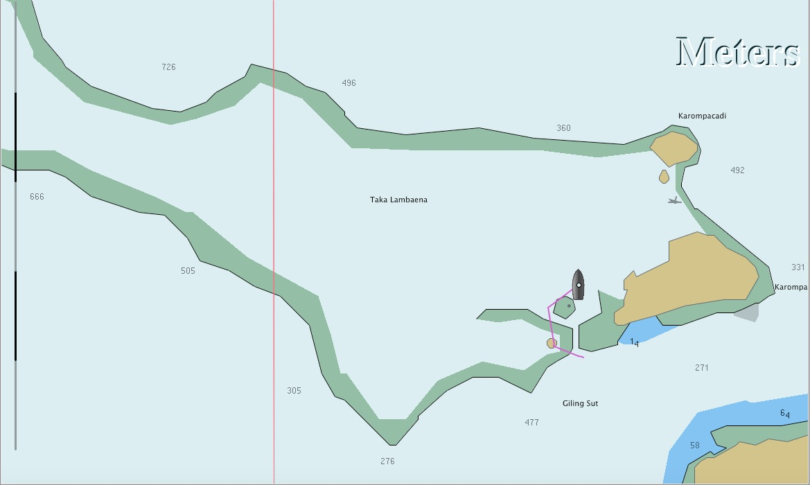 Die Karte von Karompa Lompo in OpenCPN ist nicht gerade besser.