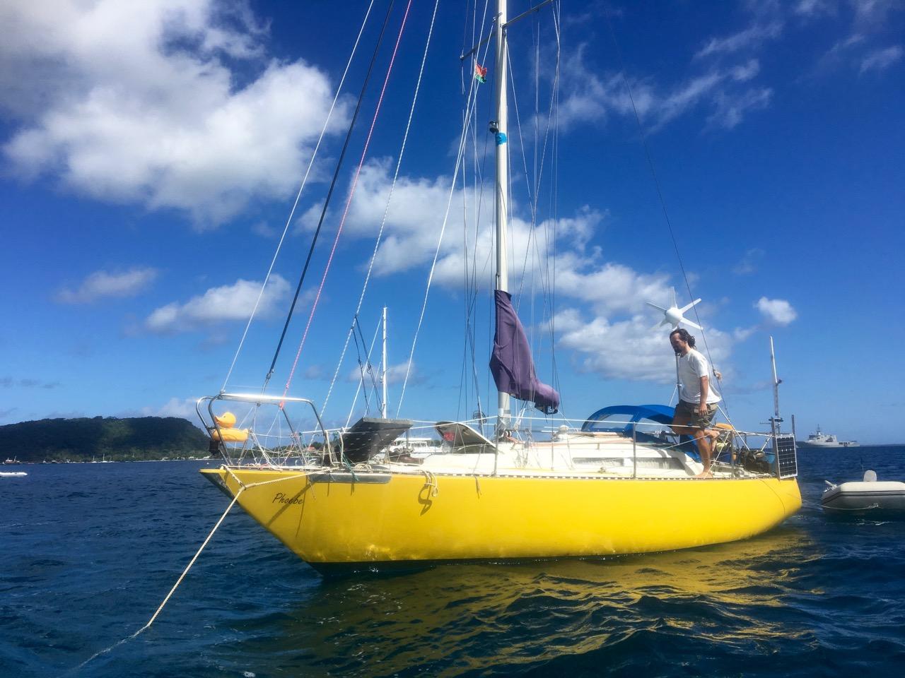 Phoebe eine 26 Fuss lange Bianca von Paul Elvström, Jans Boot für seine Weltumsegelung
