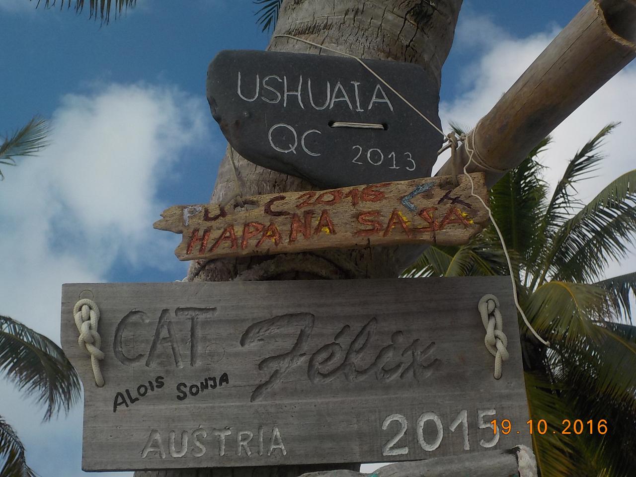 Das Bootsschild der hapa na sasa auf Cocos Keeling