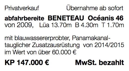 Voll ausgerüstete Beneteau Oceanis 46 für Langfahrt günstig zu verkaufen