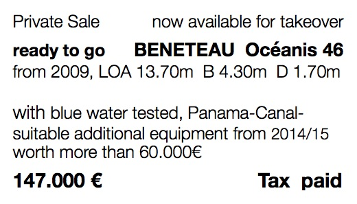 Fully equipped Beneteau Oceanis for blue water sailing for sale 46